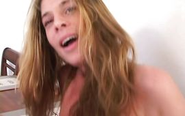 Delightful brown-haired Rachel strokes a small pecker with effort