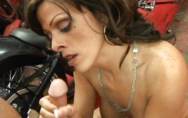 Pleased mature brown-haired Arianna Labarbara sucks a fuckmate's meat member while being fingered