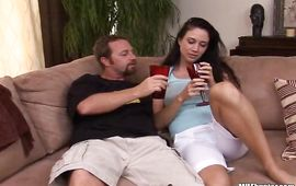 Appetizing aged brown-haired sweetie Kimberly receives a meat rocket in her quim