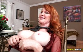 Glamor red-haired latin girlfriend Freya Fantasia sucks and rides a beef bayonet