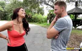 Cheerful brown-haired Ava is about to fuck stud she met