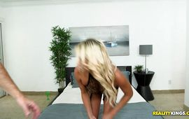 Exquisite golden-haired mature Becki Crewz's meaty poontang easily accommodates her dude's big pole