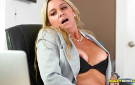 Slender older Angela will do absolutely whatever to please her playmate sexually