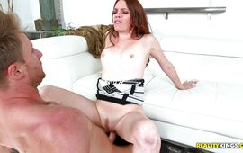 Spicy redhead darling Kassondra Raine got a pole up her tight quim while she was fingering her pussy