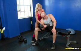 Slutty blond mature maiden Gina West loves to ride hard shaft and give bjs