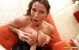 Sinful brown-haired Stacie Starr impales her tight cherry on a long throbbing pecker