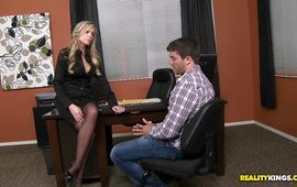 Engaging mature blond girl Darcy Tyler gets her juice sissy plowed by a handsome hunk