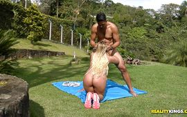 Exquisite blond Mariana Kriguer is being pounded in her beaver doggystyle