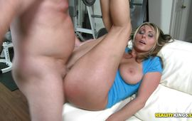 Delicious brown-haired mature Devon James makes his dick ready with her soft tits