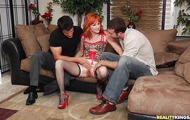 Dinky loving fantastic redhead Sasha Brand is sucking and fucking all day long just for joy