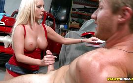 Stupendous golden-haired Mandy gave a hand to male who was desperately trying experience an agonorgasmos