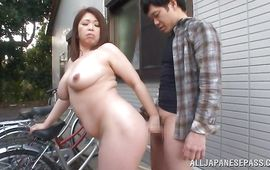 Beautiful aged floosy Natsuko Kayama with big tits lets a pussy tester slam her quim hard