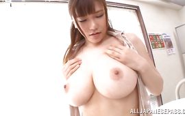 Magical mature Anri Okita with huge tits gives pal an unforgettable oral-sex