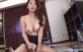 Dishy mature perfection Satomi Suzuki with massive tits gets a passionate rug munch from her fellow