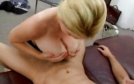 Alluring mature blond Charlee Chase enjoys sucking a huge cock