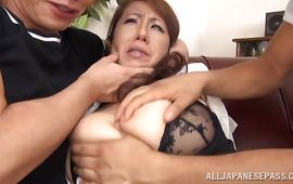 Lusty aged Rika Fujishita with large tits ready for sex