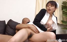 Mischievous big boobed Eriko Miura has a sweet ride on a large lovestick