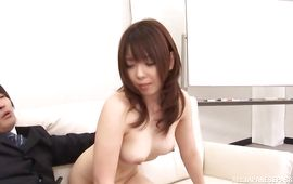 Exquisite playgirl Maki Mizusawa seduces and copulates with a strong male
