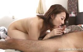 Seductive older Mio Takahashi with attractive tits seduces a strong pussy tester
