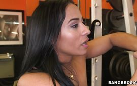 Awesome dark-haired latina Becca Diamond is down on her knees and sucking her playmate's large dinky