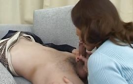Horny Mina Toujou gives a wet oral-job previous to bending over