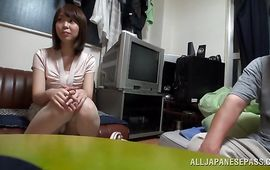 Filthy mature Yuki Mizuhoshi is gently rubbing her perky love button and sucking lover's meat member