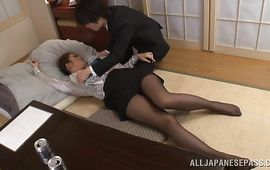 Magnificent Reiko Kobayakawa with great tits cheerfully shows her adorable young box on casting