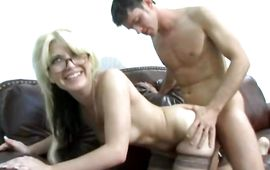 Heavenly blonde sweetie shows her perky tits and sucks
