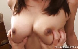 Heavenly Sumire Takaoka with large tits is concupiscent for fellow's large dangler