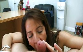 Inviting mature latin brown-haired maid Christie L'amour is banging her experienced man
