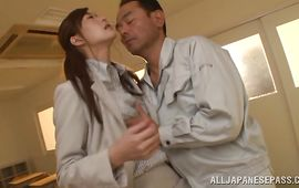 Mouthwatering gal Ichika Kanhata impales her cum-hole on a dude's packing monster