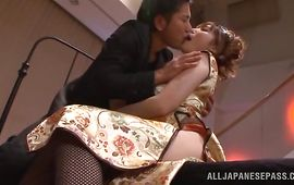 Passionate Honami Uehara with big tits is getting her every single day dose of fuck and enjoying it a lot