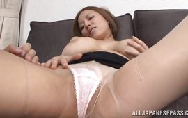 Astounding girlfriend Ruri Saijoh cheerfully shows her captivating young twat on casting