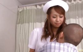 Turned on Akina gets down on knees and gives a slutty oral-sex