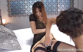 Racy older Aika Miura is getting drilled and creamed