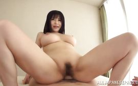Salacious bosomed mature Anri Okita seductively strips her dress previous to riding the dangler