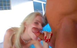 Cunning blond Diamond Foxxx is licking his balls 'cuz it excites her more than anything else
