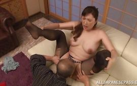 Lewd mature sweetie Reiko Shimura annihilates the man's mad hot upright boner