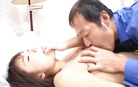 Succulent woman Mirai Hoshino with curvy tits gets talked into engulfing stud's python and greater quantity