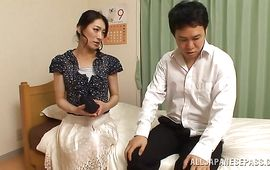 Alluring mature wench Marina Matsumoto receives a large tool in her juicy love tunnel