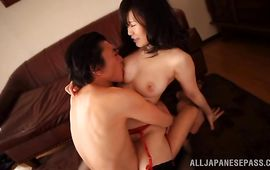 Frisky big titted floosy Arisa Ikoma is often having sex with lad