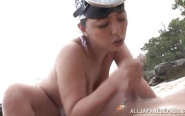 Slutty big titted mature Ryoko Murakami is about to get her tight snatch fucked while sucking a pipe