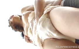 Divine woman Yuuko Shiraki is getting her each day dose of fuck and enjoying it a lot