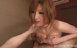 Cunning big titted Reira Akane likes to take it deep and suck phallus