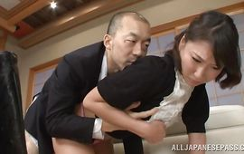 Sweet playgirl Yayoi Yanagida joyfully rides hard slim jim