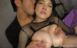 Astounding mature Sena Minami with large tits can't bother to strip her panties previous to being plowed
