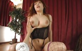 Lewd Waka Satoh with huge tits has a pleasant chunky meat rocket stuck in her lovebox