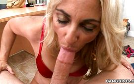 Impressive man holds lusty blond Jazella Moore tight while roughly penetrating her