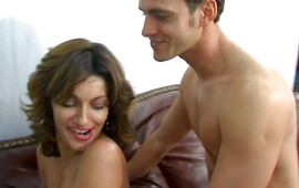 Mischievous brunette beauty Sabrina gave a blowjob to pal previous to she got fucked hard