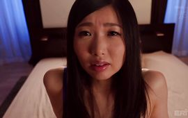 Cheerful big titted Satomi Akari gets smashed hard and fast on couch